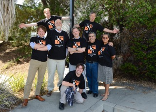 The Monterey Herald unit sporting their new Unite guild T-shirts. From left are Phil Molnar, Clark Coleman, Larry Parsons, Dennis Taylor, David Royal, James Herrera, Claudia Melendez and Tommy Wright (in front). James Herrera