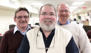 The Pottstown negotiating committee: From left are Dave Levengood, circulation; Evan Brandt, editorial; and Steve Gordon, advertising.