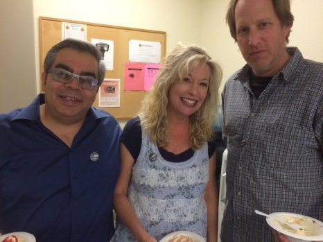 #newsmatters buttons popping up at the Monterey Herald's Ice Cream Social for staff. L to R, James Herrera, Carly Mayberry and Clark Coleman, all of the newsroom.