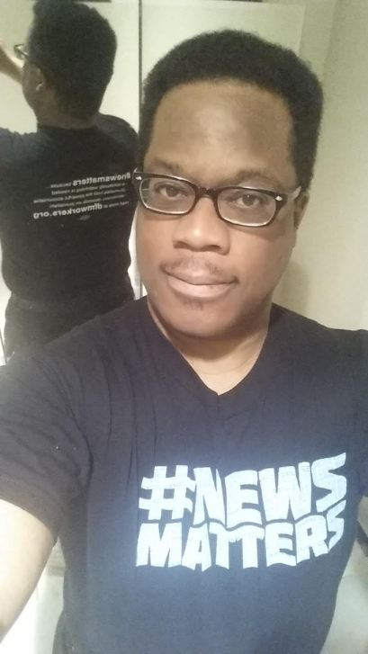 In the East Bay Area, reporter George Kelly shows us both sides of his #newsmatters t-shirt.