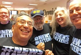 SF Chronicle staff in solidarity; L to R: J.K. Dineen, Mike Cabanatuan, Carl Nolte, Leah Garchik and Steve Rubenstein