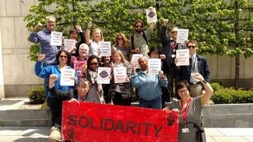Detroit Free Press workers show solidarity with Guild brothers and sisters in Macomb, Mich.